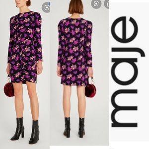 MAJE Ruched Floral Print Crepe Mini Dress
